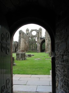 Elgin Cathedral view from front door in